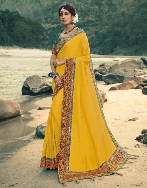 yellow saree with printed foil