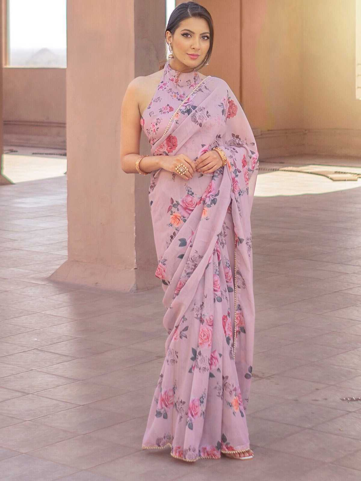 Light-Purple-Floral-Saree-with-Stitched-Blouse